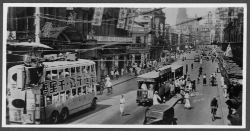 318 Shanghai-street-scene;-tram-&-double-decker-bus